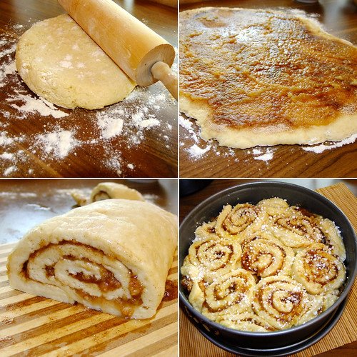 Making Cinnamon roll cake