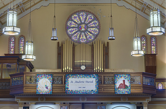 Saint Anthony Roman Catholic Church, in Lemay, Missouri, USA - pipe organ and choir loft