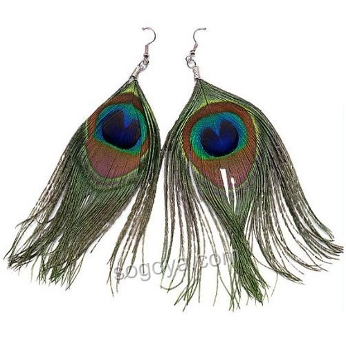 Wholesale -Peacock feather earring
