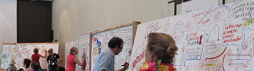 Multiple Graphic Recordings of Dan Roam's Talk at IFVP 2010