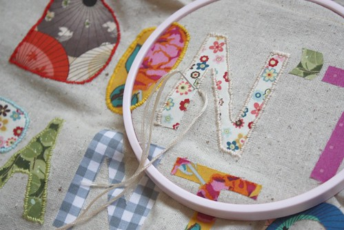 Step 6: Embroider Letters to Banner Fabric