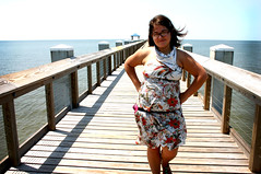 Uh. Yeah. Work it. (getmadsiq) Tags: flowers gulfofmexico water girl mississippi pier friend dress snadals