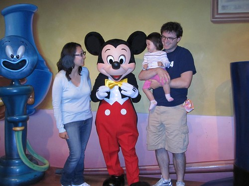 Crying with scary Mickey Mouse