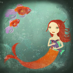 Mermaid (Fleur de Lotus) Tags: red sea mer fish pez girl illustration rouge mar rojo niña mermaid fille siren sirena poissons pescados sirène childrenillustration