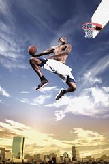 [フリー画像] 運動・スポーツ, 球技, 人物, 男性, バスケットボール, 跳ぶ・ジャンプ, 201008131900