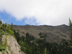 Looking back up at Buckhorn ridge from below Marmot Pass.