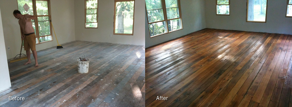 Heart Pine Floor- Before and After