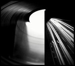 (.A.Gable.) Tags: street longexposure bw cars night diptych traffic vinyl record d100