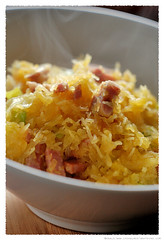 Stir-fried Spaghetti squash with Pancetta and Leeks© by haalo