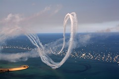 Smoke Rings (RB Photography.) Tags: chicago colors clouds airplane day cloudy cityscapes skylines sunny lakemichigan airshow stunts smoketrails