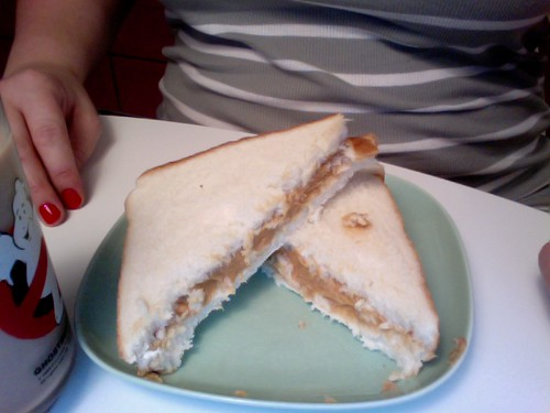 PB sandwich, chocolate milk