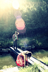 monadnoc artist promo shoot (dawn frary) Tags: bridge musician vintage pond artist guitar august iowa poet iowacity 2010 sunflare monadnoc harvestfarmandpreserve summertimeweeklyphotochallenge