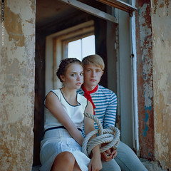 The Bond (Alexander Kuzmin) Tags: sea portrait fashion rolleiflex scarf ties french boat marine couple ship outdoor availablelight ambientlight stripes navy tie naturallight overlay rope story sling anchor sail series vest sailor shadowplay choker necktie  openair mariner chained rainman doubleportrait alexanderkuzmin kuzmin rainbook