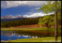 Pond at Aspen Lodge Ranch Resort with view of Longs Peak (Micha67) Tags: road ranch park trees sky panorama usa mountain mountains tree nature clouds reflections d50 rockies photography michael pond nikon earth rocky lodge micha national rmnp aspen estespark stmalo schaefer allenspark michaelschaeferphotography aspenlodgeranchresort