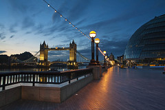 Tower Bridge and City Hall at sunrise, London, Uk (Robert Read - Visions of Britain) Tags: city uk bridge light england sun london tower tourism water up horizontal thames sunrise river landscape dawn lights hall office twilight britain path centre united capital great kingdom landmark icon tourist trail national valley council lit rise footpath iconic embankment offices attraction daybreak gloaming