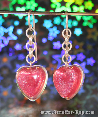 Bubble Gum Pink Heart Earrings - Resin and Chainmail Sterling Silver Earrings