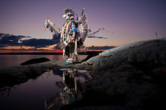 Warrior of the Dawn (davebrosha) Tags: boy summer lake water sunrise photoshoot dancing native creative dancer danny aboriginal northwestterritories stephens backbay yellowknife greatslavelake powwow micmac modelreleased davebroshaphotography micmaq warriormicmaq