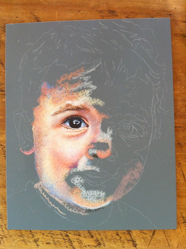 In progress colored pencil drawing entitled Emre at 16 Months