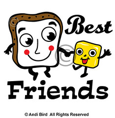 Bread and Butter t shirt graphic (birdarts) Tags: cartoons whitetshirt bestfriends breadandbutter cooltshirt printedtshirt ilovebread graphictshirt ilovebutter andibird breadandbuttertshirt bakerytshirt dairytshirt