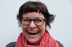 ina (einsteinsmonster) Tags: portrait liverpool laughing glasses nikon women brunette scarfe 30mm d90 einsteinsmonster