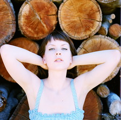 Amanda = Big Fan of Those Logs (Lou O' Bedlam) Tags: amanda losangeles mamiyac330 canyoncountry louobedlam 72410 80mmlens kodakportra400vcfilm lounoble mountainlionranch