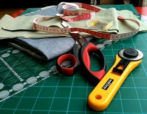 Sewing in progress