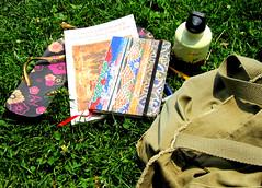 Hamilton Park (Cartas Cortas) Tags: park writing hamilton books flip flops weehawken escribiendo