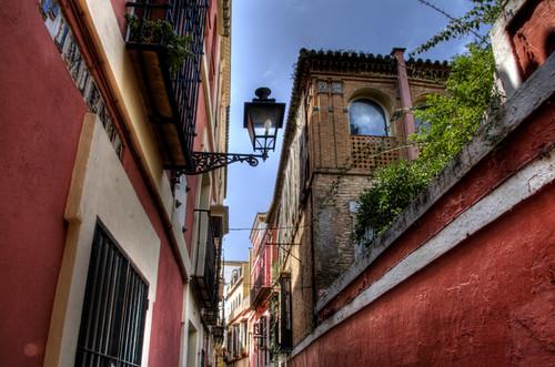 Red street. Seville. Calle roja. Sevilla