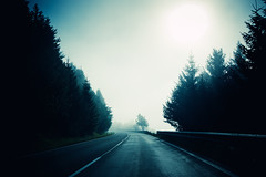 On The Road (Philipp Klinger Photography) Tags: road park street wood travel trees light shadow sun mist mountain mountains alps tree salzburg wet water fog forest photoshop austria sterreich nationalpark woods nikon ray foggy pass atmosphere creepy national land horror rays alpen curve philipp ontheroad atmospheric hohe on the klinger salzburgerland hohetauern tauern katschberg nikon28105mmf3545 d700 salzburgland dcdead passstrase vanagram tauernpass