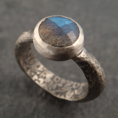 labradorite ring (downtothewiredesigns) Tags: hammered handmade jewelry engagementring ring etsy secretgarden solitaire dtw sterlingsilver blueflash floraldesigns downtothewiredesigns facetedlabradorite patternedmetal chuckdomitrovich