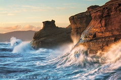 Endurance - Cape Kiwanda, Pacific City, Oregon (Jim Patterson Photography) Tags: travel blue light sunset sea sky seascape motion color bird nature water yellow clouds oregon landscape gold lights golden coast sand marine sandstone rocks colorful waves natural tripod salt shoreline scenic rocky cliffs spray erosion coastal shore lee vista coastline splash bluffs cascade cracked gitzo formations seastack cascading reallyrightstuff pacificcity capekiwanda remoterelease nikkor3570mm cotcmostfavorited graduatedneutraldensityfilter nikond300 markinsm20ballhead erosional jimpattersonphotography jimpattersonphotographycom seatosummitworkshops seatosummitworkshopscom