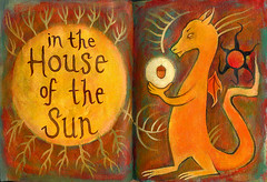 In the House of the Sun (pageofbats) Tags: autumn sun acrylic dragon symbol acorn phashaleatherjournals