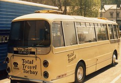 EUG883D, Torquay Coach Station, mid 1980s (aecregent) Tags: rear reliance aec plaxton coachstation wallacearnold totaltravel eug883d