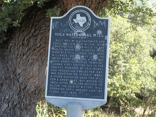 Voca Waterwheel Mill, Voca, Texas Historical Marker by fables98