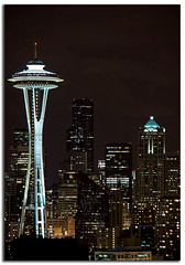 Seattle Skyline (Chad McDonald) Tags: seattle park city skyline night canon landscape photography anne eos washington long exposure chad space kerry queen explore needle wa emerald mcdonald xsi skyscrapper intresting e