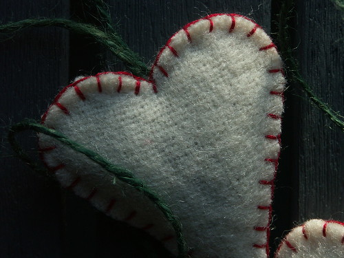 Blanket heart (red stitching)