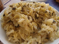 wilted cabbage with capers and spices