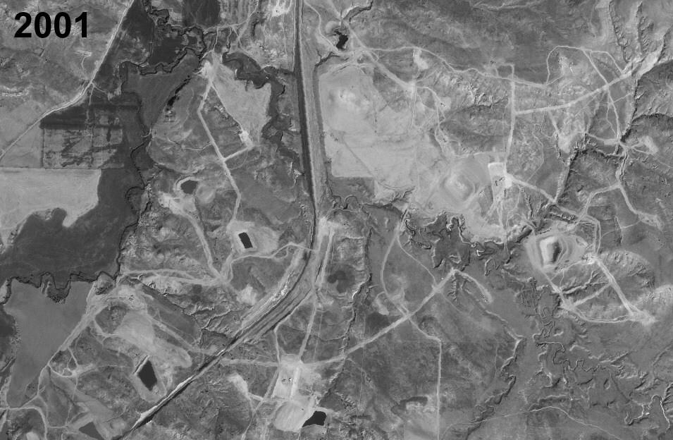 2001: CBM development under way, Bar-N-Draw quadrangle, Powder River Basin, Wyoming