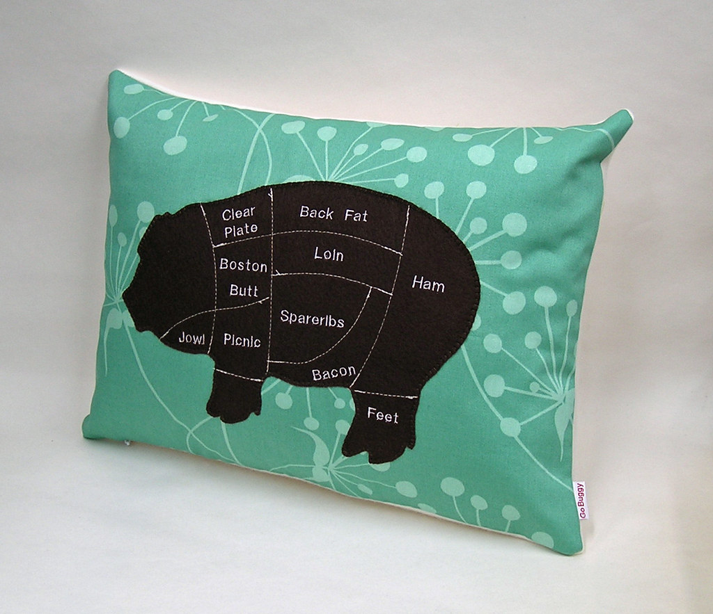 Pig Meat Chart Decorative Pillow