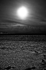 Foot Prints (David Clements) Tags: uk sun beach clouds footprints pebbles devon sands slapton