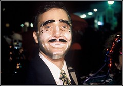 0226196-R2-E045 (bigbuddy1988) Tags: new york city nyc newyorkcity people newyork man film halloween night nikon funny mask f100 slidefilm parade nikonf100 nighttime 28 ektachrome sb sb28 nikonsb28