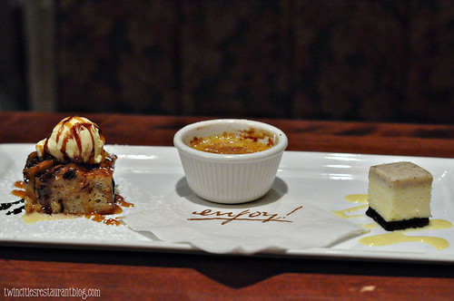 Chocolate Bread Pudding, Creme Brulee, Espresso Cheesecake at Enjoy! ~ Apple Valley, MN