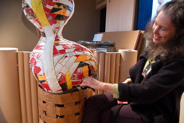 Ann Weber's cardboard art workshop, Day 3
