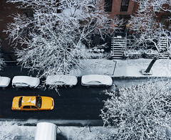 NYC Snow day (Rick Elkins) Tags: newyork newyorkcity brooklyn snow brooklynheights winter taxi cab aerial overhead street brownstones brownstone buildings tree bare steps sidewalk ice frozen icestorm canopy yellowcab