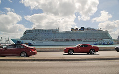 Miami Beach Causeway (Infinity & Beyond Photography) Tags: miami beach causeway road florida cruiseship ship cruise liner port cars norwegian escape macarthur