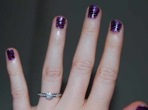 zebra nails purple & black