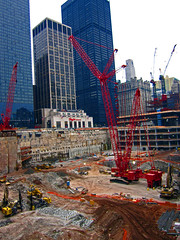 WTC Transit Hub Construction (Vinny S.) Tags: new york city nyc ny wheel construction crane worldtradecenter 911 demolition cranes wtc heavyequipment jib bulldozer towercranes excavator excavation constructionequipment manitowoc freedomtower excavators rockdrill wheelloader wtcpathstation nycconstruction crawlercrane catexcavator worldtradecenterconstruction grovecrane manitowoc16000 freedomtowerconstruction manitowoccranes manitowoc18000 cat385bl altascopcorockdrill