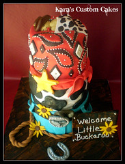 Little Buckaroo Baby Shower (Kara's Custom Cakes) Tags: wood stars cow belt cowboy sunflowers horseshoe longhorn handkerchief paisley cowboyhat babyshower woodgrain sleepingbaby beltbuckle fondant lasso cowboycake babycake littlebuckaroo babybuckaroo
