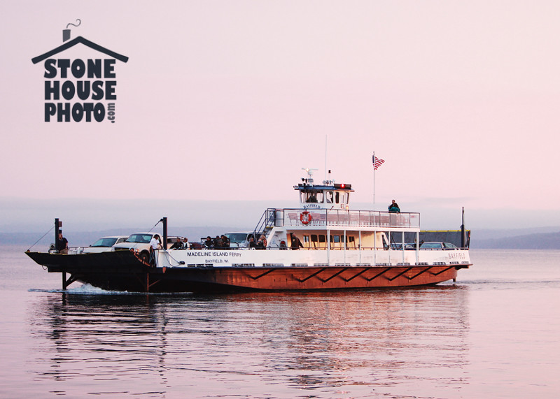 Madeline Island Ferry at sunset