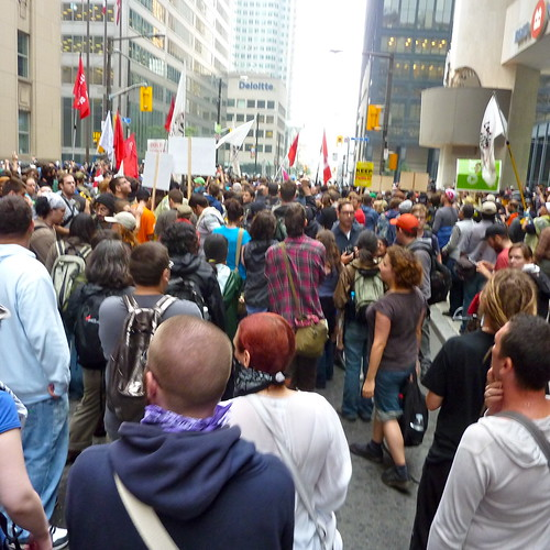 Protestors fill the streets of Toronto during the G20 Summit.